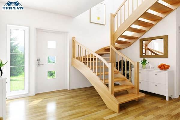 Cầu thang chữ L bằng gỗ