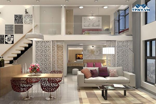 Tầng lửng phòng ngủ thiết kế cùng vách ngăn kính cường lực
