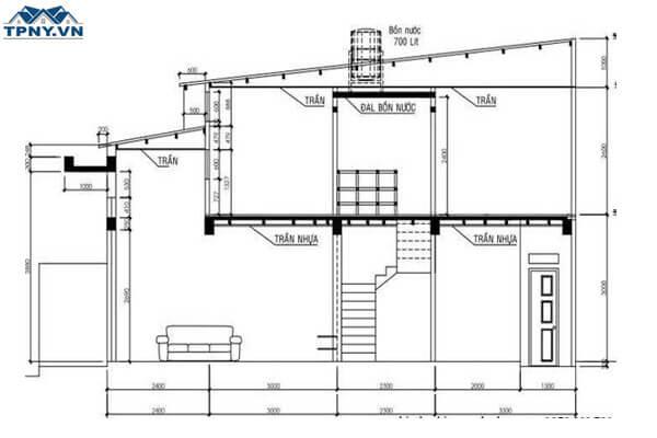 Bản vẽ cad nhà cấp 4 mái tôn
