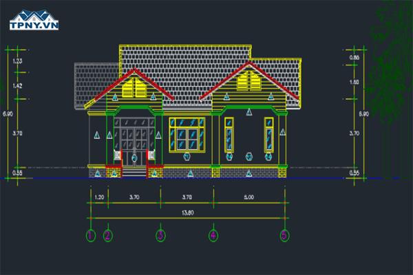Download bản vẽ cad nhà 1 tầng, 2 tầng