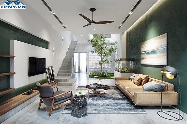 Mẫu phòng khách 6m hiện đại kết hợp cây xanh