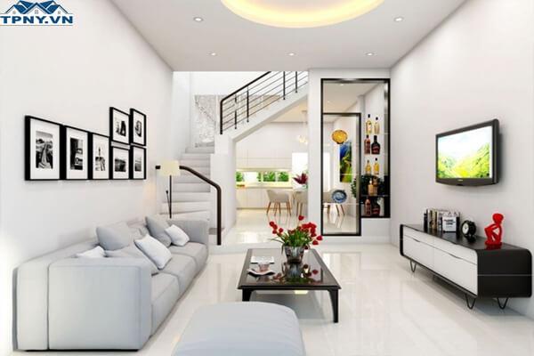 Phòng khách 6m tươi sáng hơn với tông màu sáng