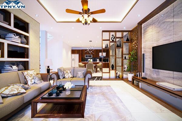 Mẫu phòng khách 6m thiết kế theo phong cách trẻ trung, hiện đại