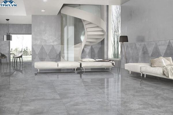 Không gian phòng khách sang trọng hơn với gạch bóng kiếng